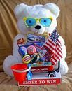 Custom Summer Fun Bernie The Bear Toy Promotional Display With Toy Filled Wagon