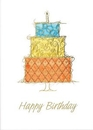 Custom Three Tiered Birthday Cake Greeting Card, 5.625