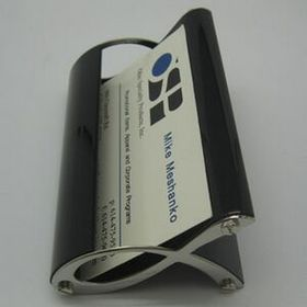 BUSINESS CARD HOLDER, SILVER AND BLACK (Laser engraved), Price/piece