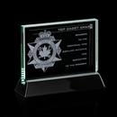 Custom Jade Walkerton Award w/ Rosewood or Black Wood Base (5