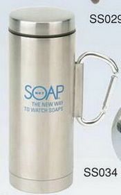12 Oz. Stainless Steel Mug W/ Safety Clip Handle (Screened), Price/piece
