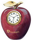 Custom Marble Apple Clock with Gold Leaf