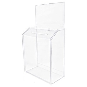 "Clear Ballot Box with Lock - Large (4"" Deep/ 8.5""x5"" Riser Insert), Price/piece"