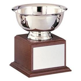 "Stainless Steel Revere Bowl Trophy w/ Walnut Finish Base (6""x7 1/4""), Price/piece"