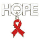 Custom Hope Pin with Red Ribbon Charm, 1 1/4