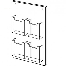 Four Pocket Straight Wall Mount Brochure Holder, Price/piece