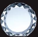 Custom Optical Crystal Gem-Cut Circle Award - Medium