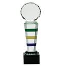 Custom 3 Color Crystal Award w/ Facet Crystal Round Top (12 3/4