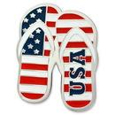 Custom Patriotic Flip Flops Lapel Pin, 1 1/4