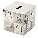 Custom Silver Plated Nursery Block Bank