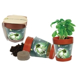 "Illini Snap In Blossom Pot, Pad Printed, 4 1/2"" L X 4 1/4"" W, Price/piece"