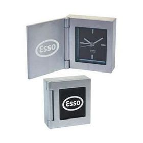 Cast Aluminum Flip Open Desk Alarm Clock, Price/piece