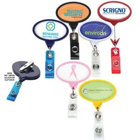 "DeVara Jumbo Oval Badge Reel: (Pad Printing), 2 1/8"" W X 3 1/4"" H X .35"" D, Price/piece"