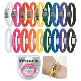 "Water Resistant Silicone Sports Watch, 3"" x 2 3/4"" x 3/4"", Price/piece"