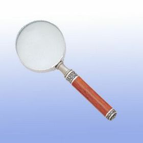 Magnifying Glass Rosewood Body w/Pewter Findings in Velvet pouch (Screened), Price/piece