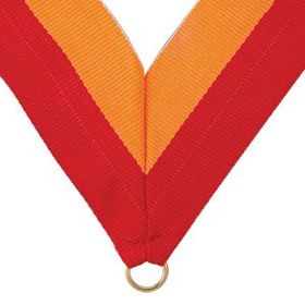 "Red/Gold Grosgrain Imported V Neck Ribbon - Medal Holder (32""x1 3/8""), Price/piece"