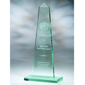 Obelisk Jade Glass Award - Large (Screened), Price/piece