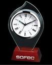 Custom Flame Glass on Wood Alarm Clock