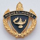 Blank Fully Modeled Epoxy Enameled Scholastic Award Pins (Highest Honor), 7/8