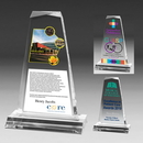 Custom Multi-Faceted Acrylic Clear Tapered Award - Screen Process