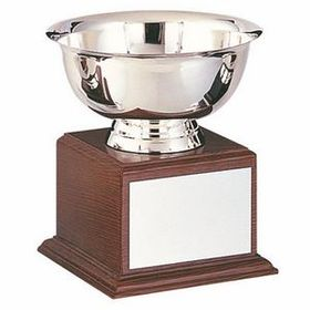 "Stainless Steel Revere Bowl Trophy w/ Walnut Finish Base (8""x9 1/4""), Price/piece"