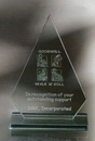 Custom Arrowood Award - Jade Glass (7 1/2