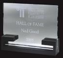 Custom Starfire Glass Classic Award w/ Wood Base