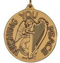Custom Wishing You Peace Ornament/Medallion(Angel/Harp) Brass or Nickel-Silver
