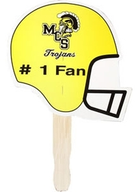 "AAKRON Football Helmet Stock Shaped Hand Fan, 7 5/8"" W X 7 3/8"" H, Price/piece"