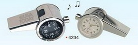 3-in-1 Chrome Whistle W/ Clock & Compass (engraved), Price/piece