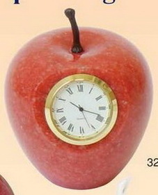 Red Marble Apple Paper Weight w/ Analog Clock (Screened), Price/piece