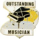Blank Hard Stoned Enamel Music Pins (Outstanding Musician), 1 1/8