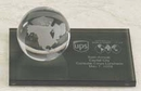 Custom Glass Clear World Globe Award w/ Marble Base (3