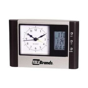 Desk Clock with Analog/ Digital Display & Thermometer, Price/piece