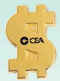 "3-1/4""x2-1/4""x5/8"" Gold Plated Money Sign Paper Weight (Screened), Price/piece"