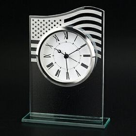 U.S. Flag Glass Clock (Screened), Price/piece