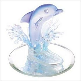 "3 1/2"" L x 3 3/8"" W x 3"" H Art Glass Dolphin Figurine, Glass with Mirrored Base, Price/piece"