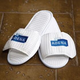 Waffle Weave Embroidered Spa Slippers, Price/piece