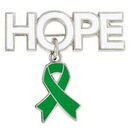 Custom Hope Pin with Green Ribbon Charm, 1 1/4