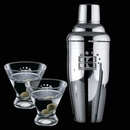 Custom Connoisseur 3 Piece Martini Set with Shaker & 2 Brisbane Glasses