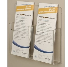 Two Pocket Straight Wall Mount Brochure Holder, Price/piece