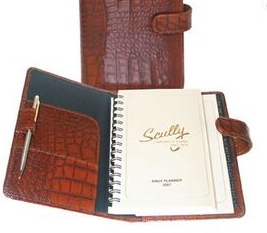 Black Crocodile Calf Leather Wired Daily Agenda, Price/piece