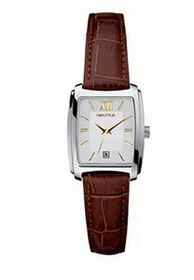 Nautica Ladies' Brown Croc Strap Watch w/ Rectangle Dial & Gold Indices, Price/piece
