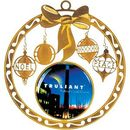 Custom Brass Holiday Ornament, 3.5