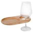 Custom Mini-Oval Bamboo Party Plate with Built In Stemware Holder