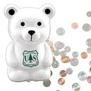 Custom White Mini Cute Dog Ceramic Collectible Bank, 2 5/8