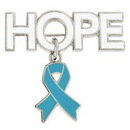 Custom Hope Pin with Light Blue Ribbon Charm, 1 1/4