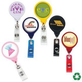 "DeVara Jumbo Round Badge Reel: (Pad Printing), 1 1/2"" W X 3 1/2"" H X .35"" D, Price/piece"