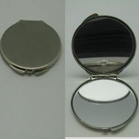 Silver Plated Round Compact Mirror (Screen printed), Price/piece