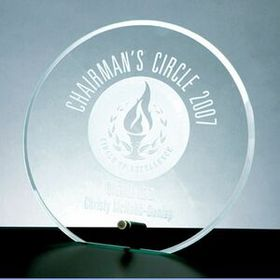 Beveled Circle Award w/Aluminum Pole (Screened), Price/piece